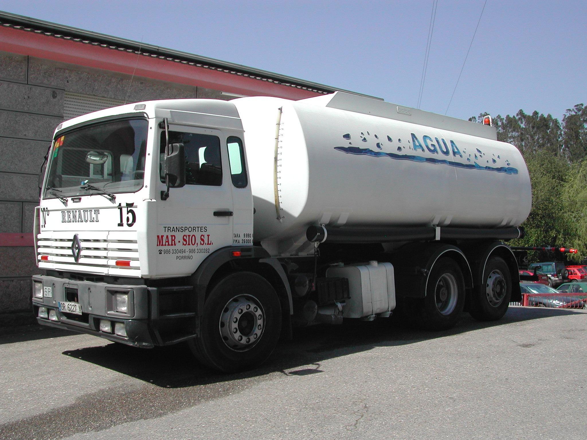 Camion cisterna de agua capacidad